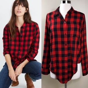 EUC✨MADEWELL Flannel Tie-Front Shirt Buffalo Check